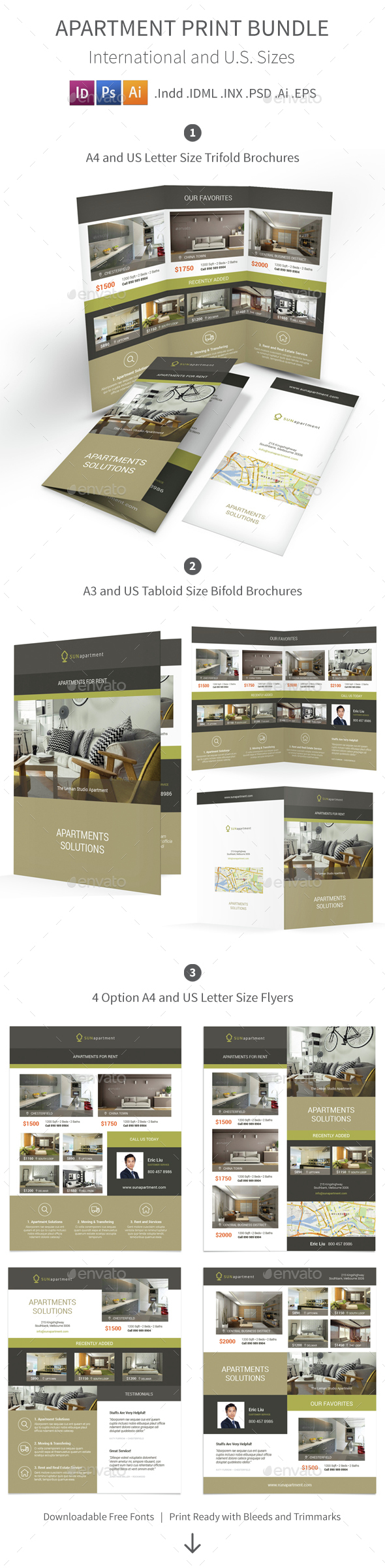 Apartment For Rent Print Bundle 2 - Informational Brochures