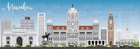 Mumbai Skyline with Gray Landmarks and Blue Sky. - Buildings Objects