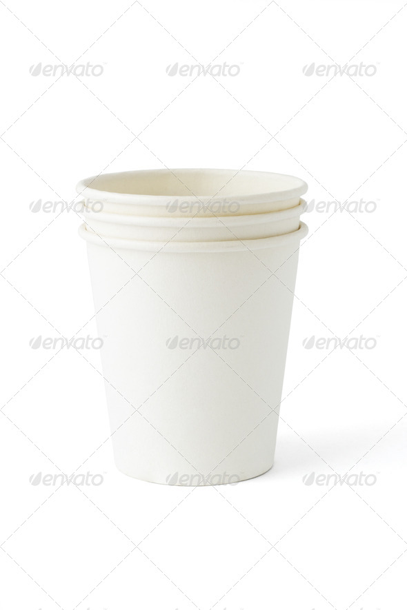 Disposable paper cups - Stock Photo - Images