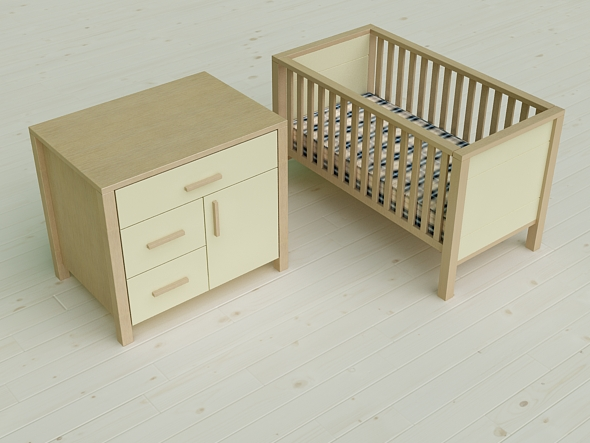 Pierre Cardin 3D Baby Cot U0026 Changing Cabinet   3DOcean Item For Sale