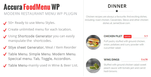 Accura Foodmenu Wp  Modern Restaurant Food Menu By Accurathemes