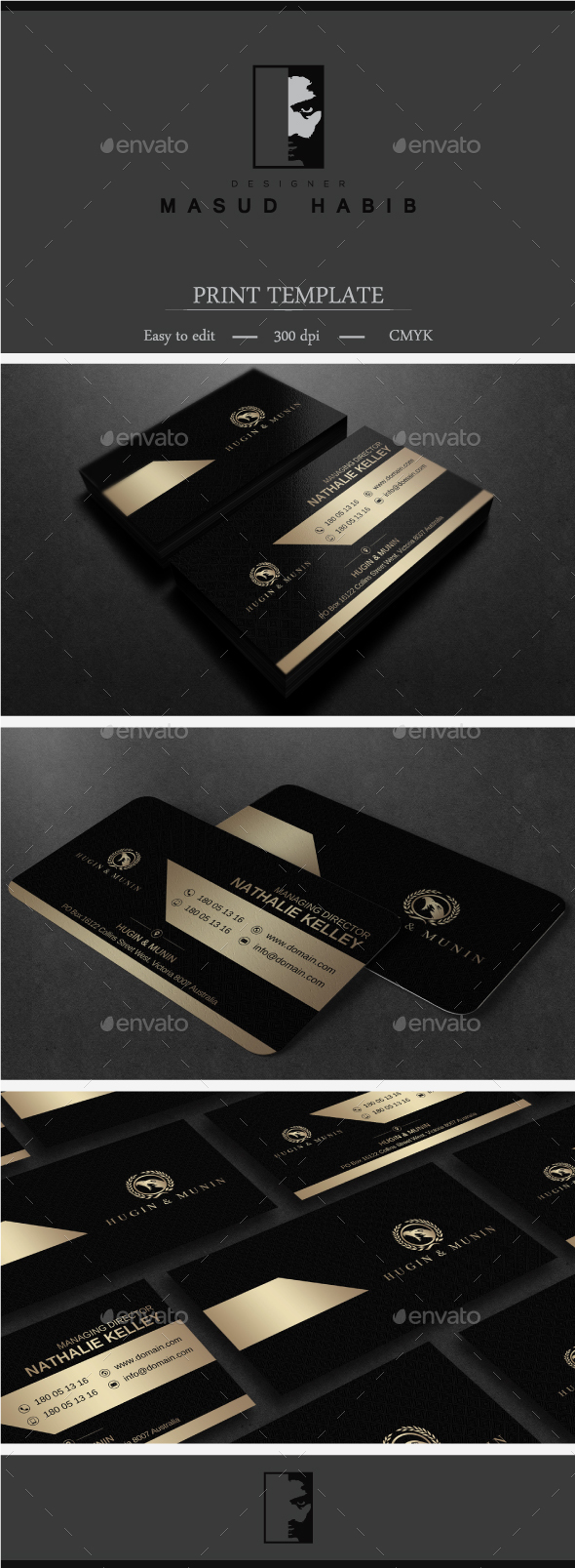 Gold And Black Business Card 2 - Corporate Business Cards