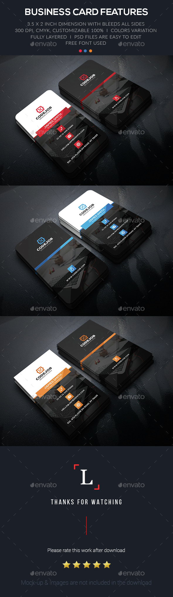 Dark Corporate Business Card - Business Cards Print Templates