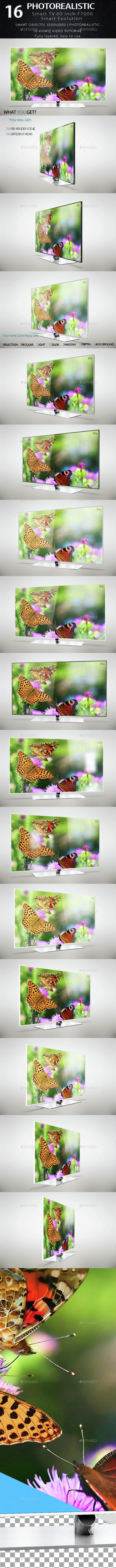 Smart Tv 60 inch F7000 Smart Evolution Mock Up - Product Mock-Ups Graphics