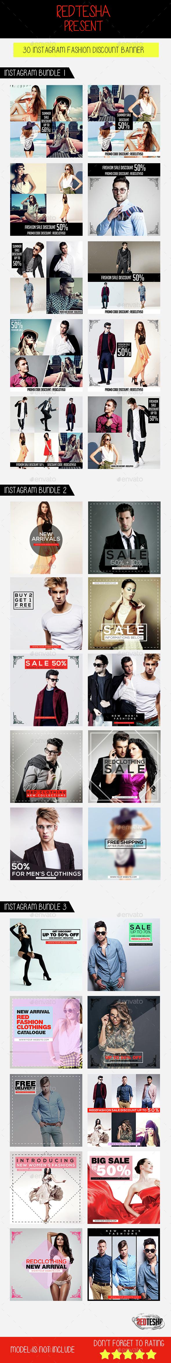 Instagram Fashion Banner Bundle - Banners & Ads Web Elements