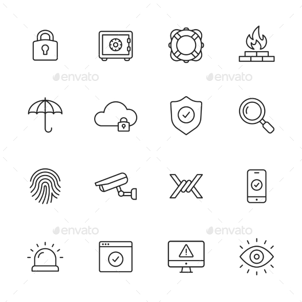 Security Line Icons - Miscellaneous Icons