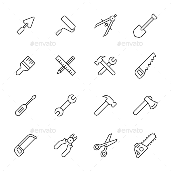 Tools Line Icons - Man-made objects Objects