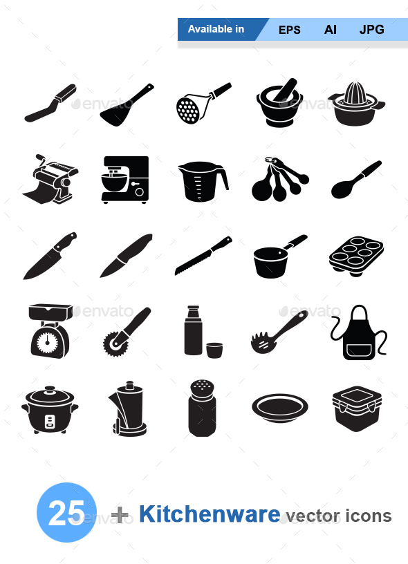 Kitchenware II vector icons - Man-made objects Objects