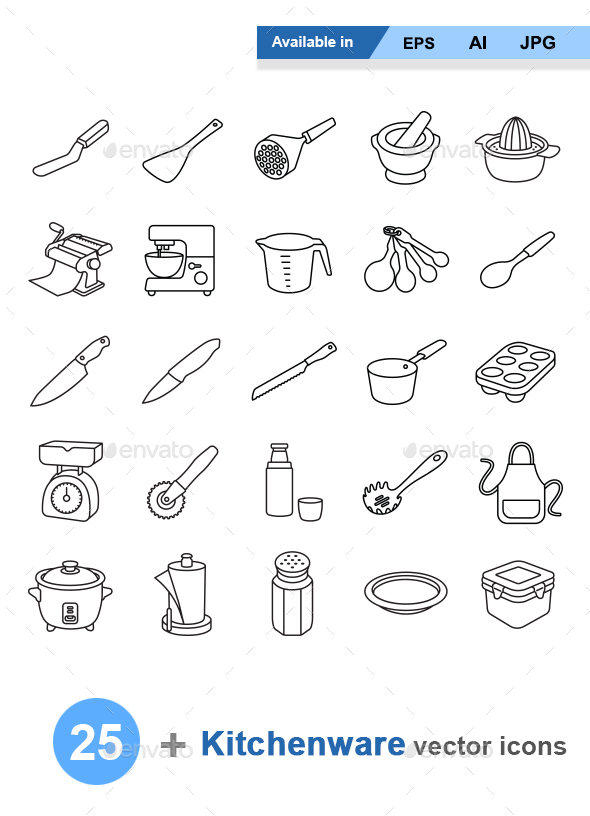 Kitchenware II outlines vector icons - Man-made objects Objects
