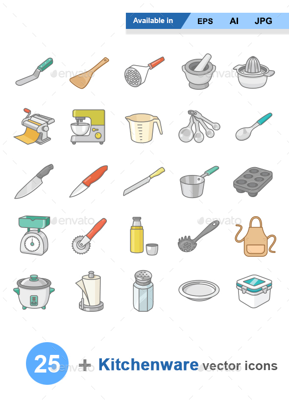 Kitchenware II color vector icons - Man-made objects Objects