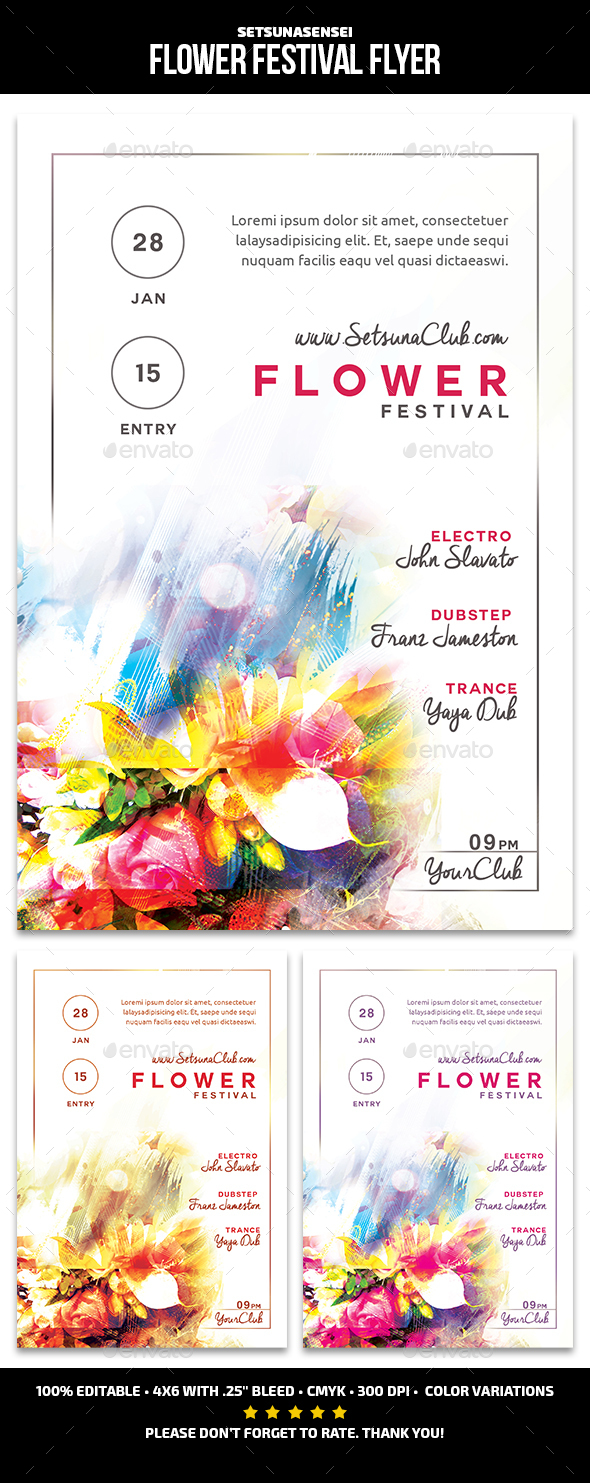Flower Festival Flyer - Clubs & Parties Events