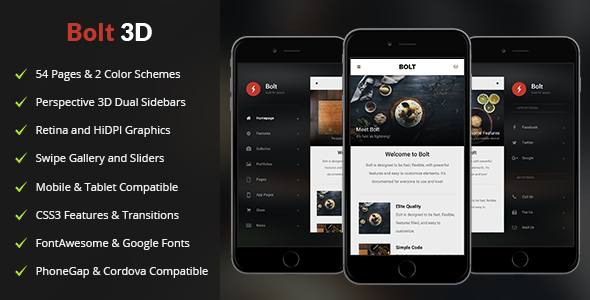 Bolt 3D Mobile | Mobile Template - Mobile Site Templates