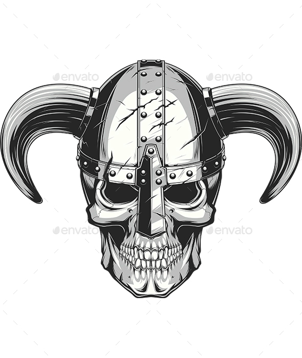 Viking Skull in Helmet - Tattoos Vectors