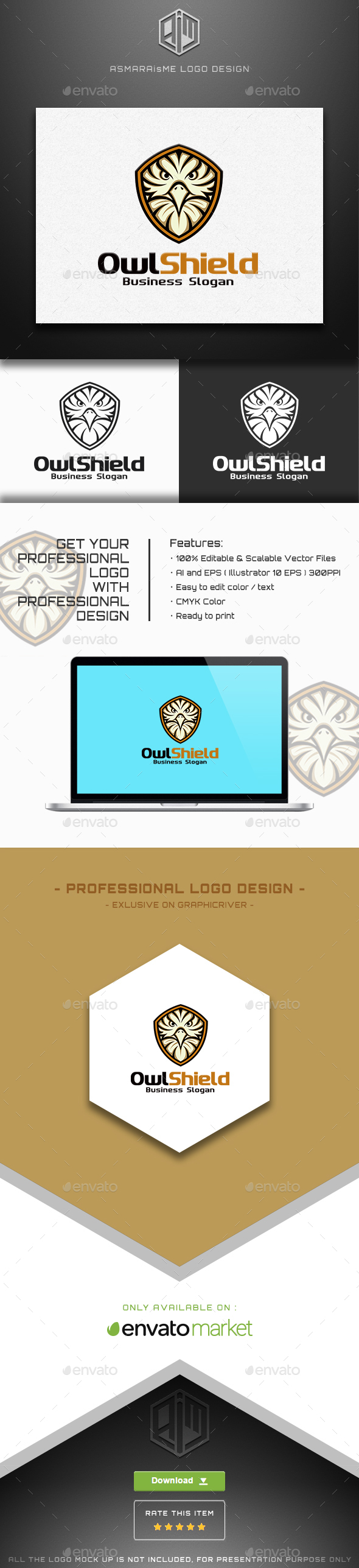 Owl Shield Logo - Animals Logo Templates