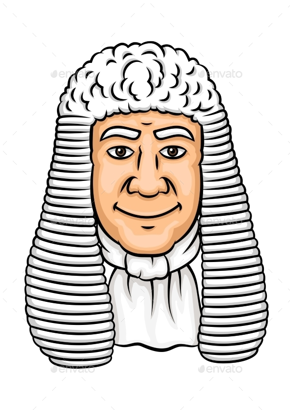 Cartoon Old Judge in White Wig - People Characters