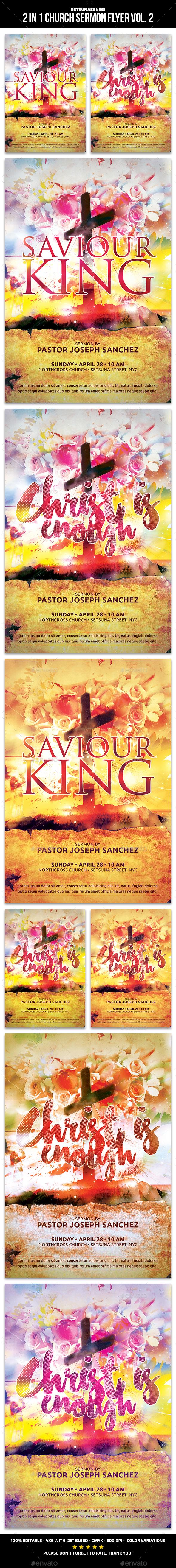 2 in 1 Church Sermon Flyer Vol. 2 - Church Flyers