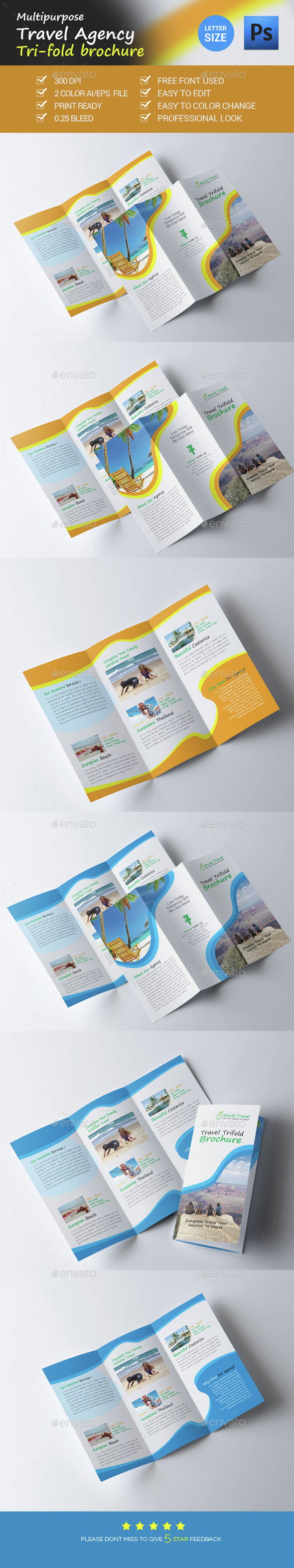 Travel Agency Trifold Brochure - Brochures Print Templates