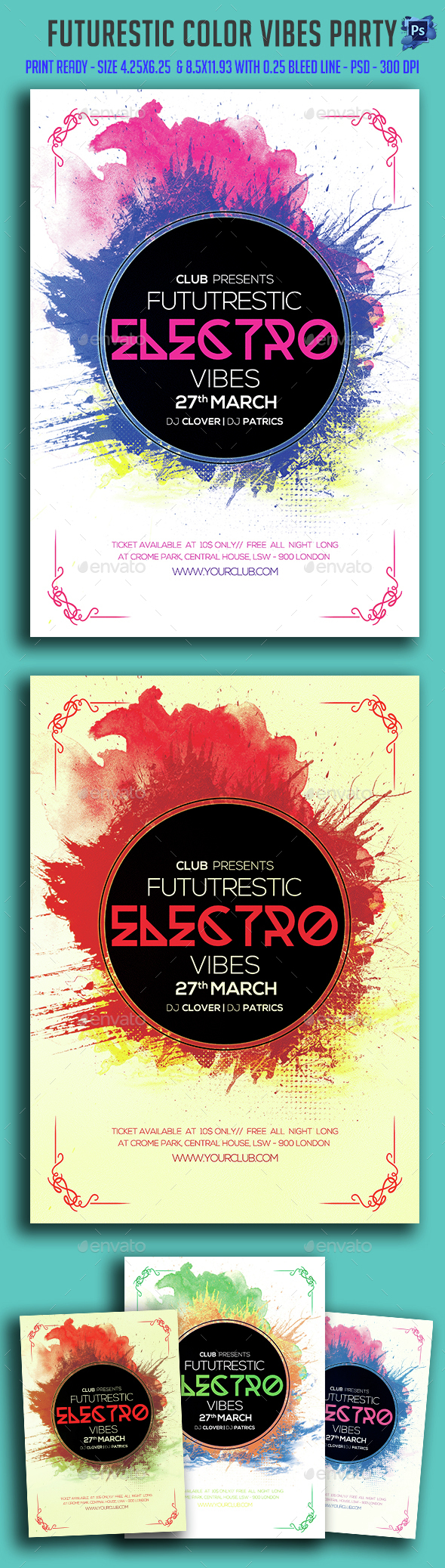 Futurestic Color Vibes Party Flyer - Clubs & Parties Events