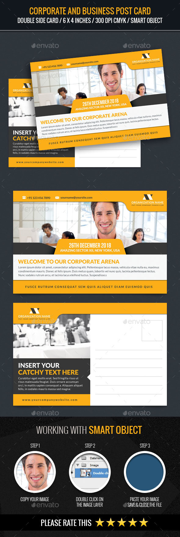Corporate and Business Post Card - Cards & Invites Print Templates