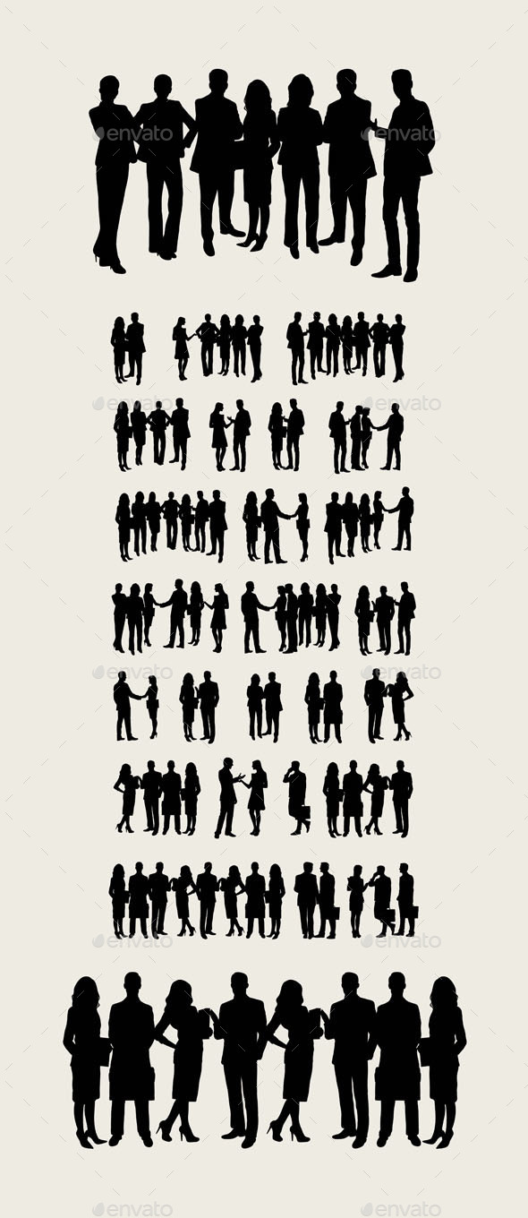 Teamwork Business Silhouettes - People Characters