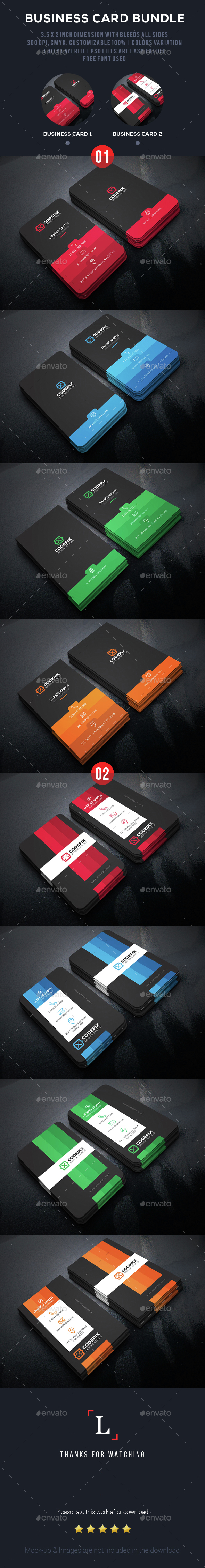 Color Shade Business Card Bundle - Business Cards Print Templates