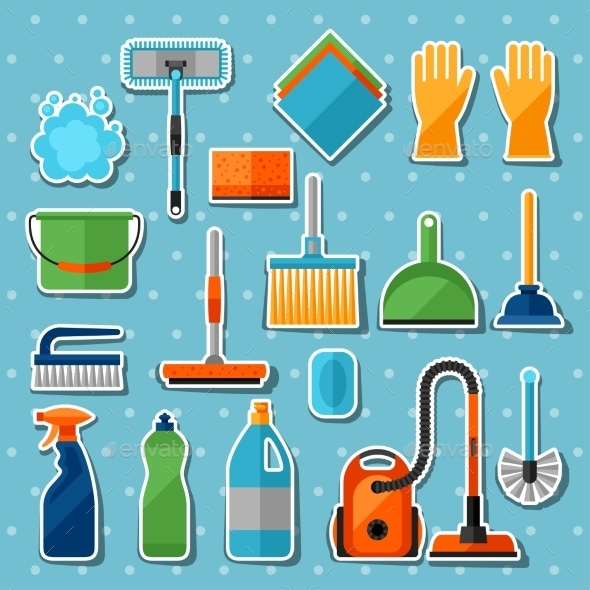 Housekeeping Cleaning Sticker Icons Set - Services Commercial / Shopping