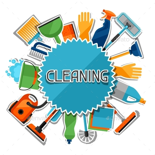Housekeeping Background With Cleaning Sticker - Services Commercial / Shopping