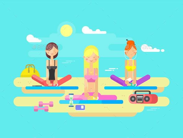 Girls Practicing Yoga - People Characters
