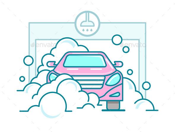 Car Wash Linear Design - Miscellaneous Vectors