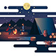 Night Fire Near Tent Camp - GraphicRiver Item for Sale