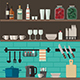 Cooking Utensils on Shelves - GraphicRiver Item for Sale
