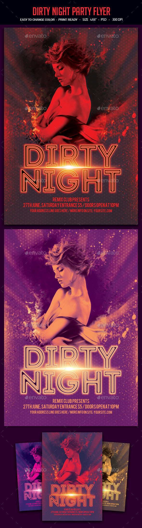 Dirty Night Party Flyer - Clubs & Parties Events
