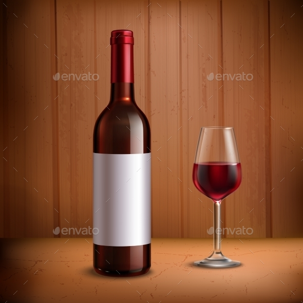 Wine Bottle Template with Glass of Red Wine  - Backgrounds Decorative