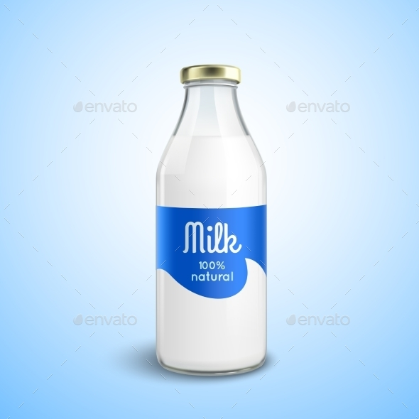 Closed Bottle of Milk  - Food Objects