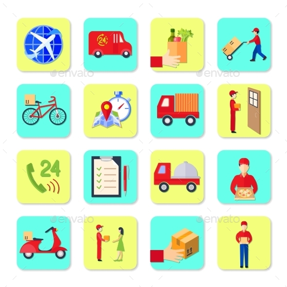 Delivery Icon Flat Set - Business Icons