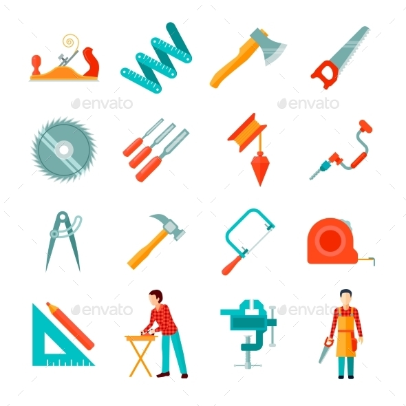 Carpenter Icon Flat Set - Man-made objects Objects