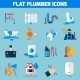 Plumber Service Flat Icons Set