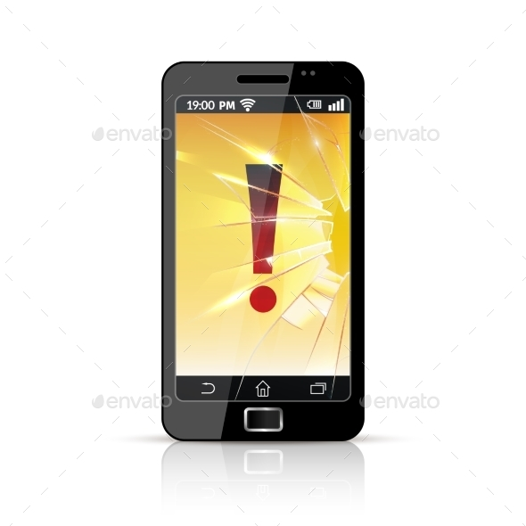 Broken Smart Phone Flat Icon  - Man-made Objects Objects