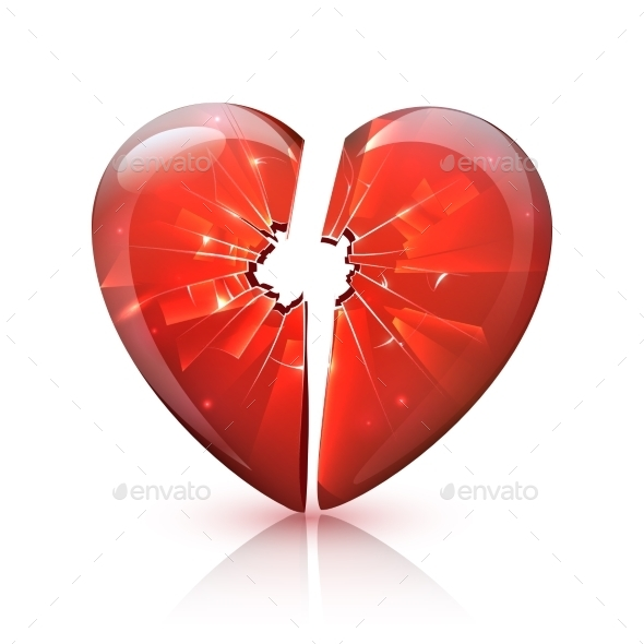 Red Glossy Broken Glass Heart Icon  - Miscellaneous Conceptual
