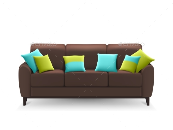 Brown Realistic Sofa with Decorative Cushions  - Man-made Objects Objects
