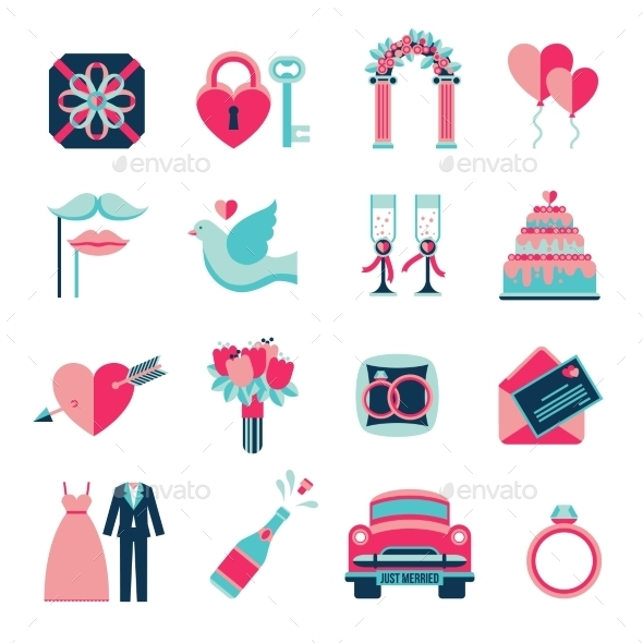 Wedding Flat Icons Set - Abstract Icons