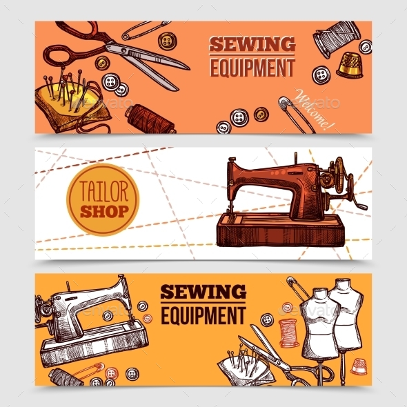 Vintage Sewing Banners - Backgrounds Business
