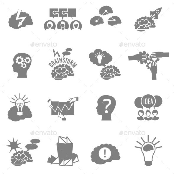 Brainstorm Flat Icons Set - Abstract Icons