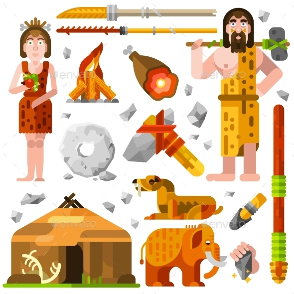 Prehistoric Stone Age Caveman Icons - Decorative Symbols Decorative