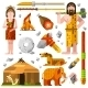 Prehistoric Stone Age Caveman Icons - GraphicRiver Item for Sale
