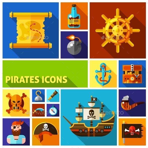 Pirates Flat Cartoon Icons    - Decorative Symbols Decorative