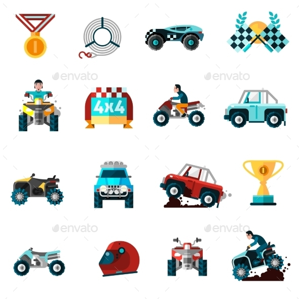 Offroad Icons Set  - Sports/Activity Conceptual
