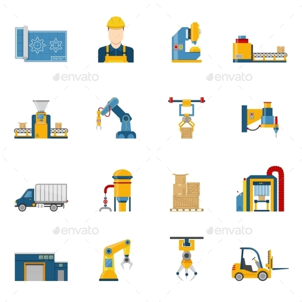 Production Line Icons Isolated - Industries Business