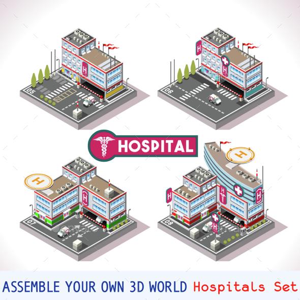 Game Set 16 Building Isometric - Health/Medicine Conceptual