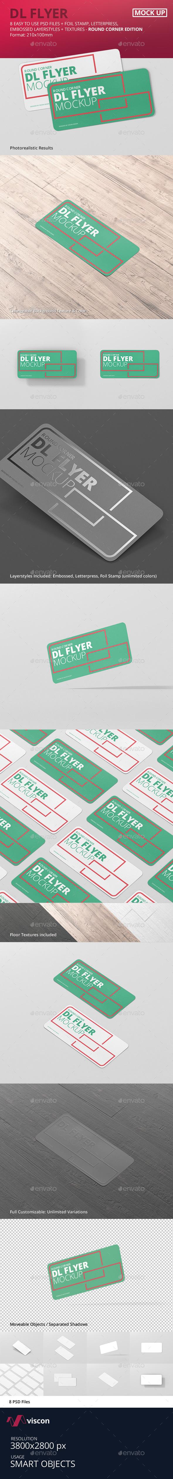 DL Horizontal Flyer Round Corner Mockup - Flyers Print